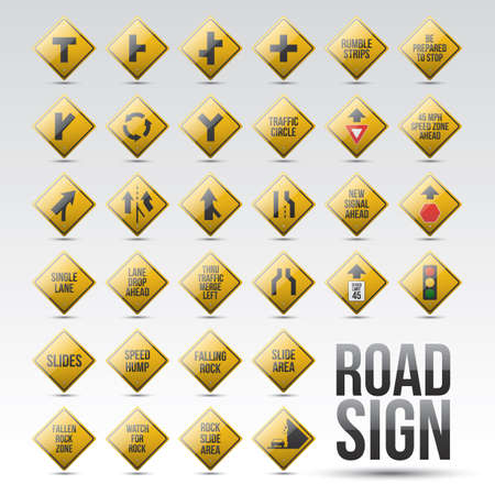 right angled: set of road signs