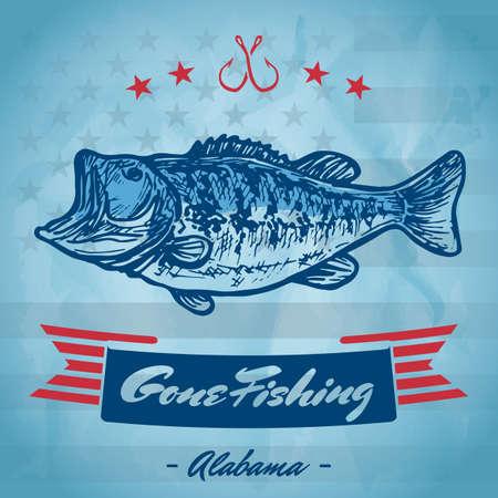 gegaan visserijteken Stock Illustratie