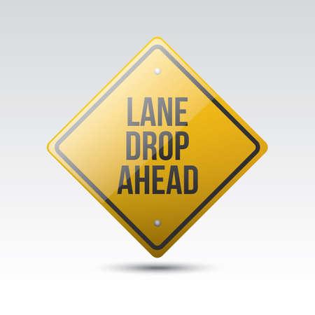 lane: lane drop ahead sign