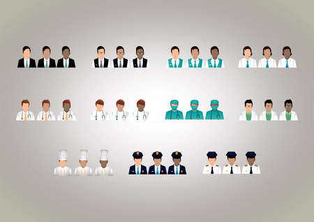 hotel staff: set of professional people Illustration