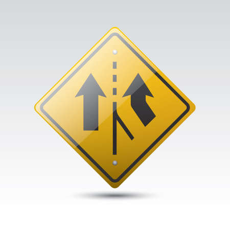 right added lane sign Illustration