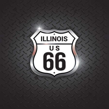 66: illinois 66 road sign