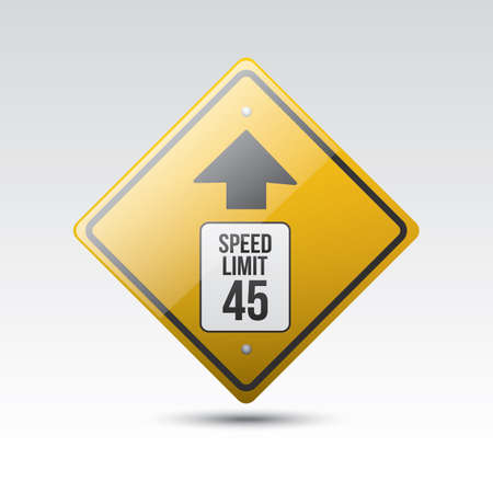 limit: speed limit 45 ahead sign Illustration