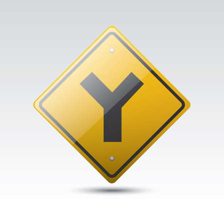roadsigns: y fork junction sign