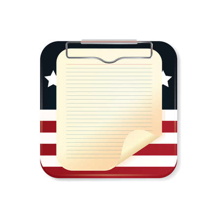 in lined: clipboard with lined paper Illustration