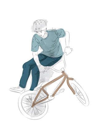 teenage boy: teenage boy performing stunts with bicycle