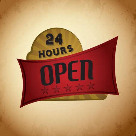 hours: open 24 hours signboard