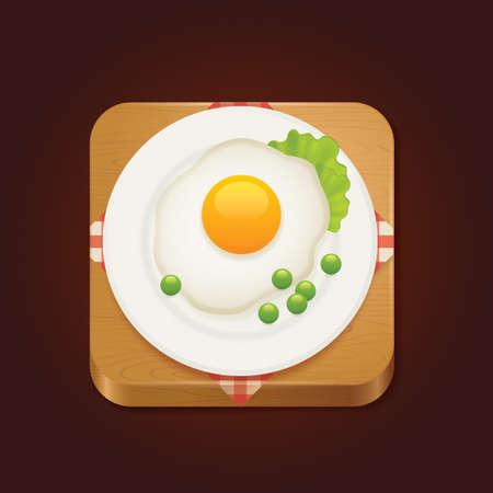 green peas: fried egg and green peas Illustration