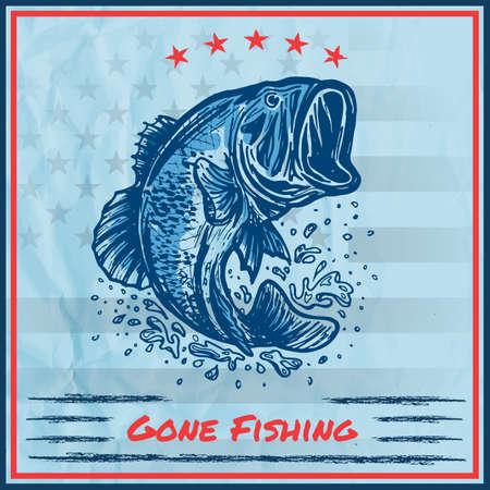 釣りに行ってサイン  イラスト・ベクター素材