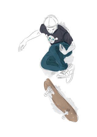 teenage boy: teenage boy with skateboard