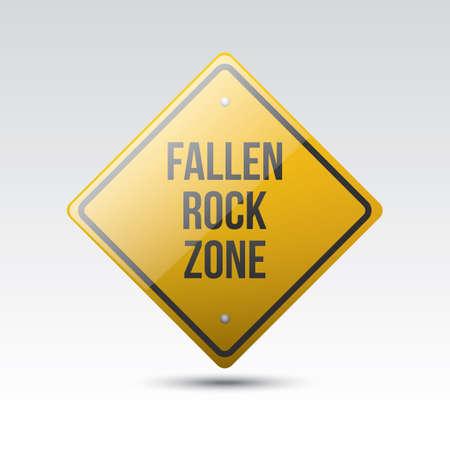 fallen: fallen rock zone sign Illustration