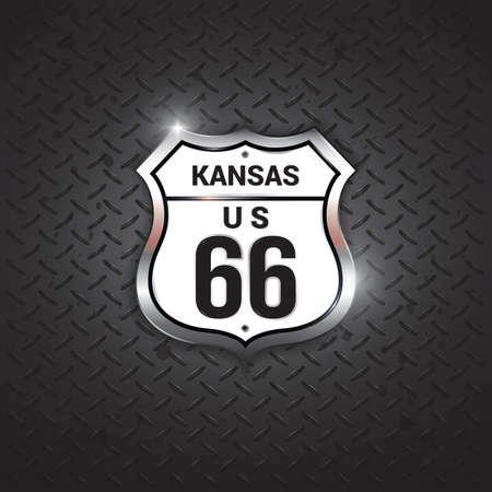 66: kansas 66 road sign Illustration