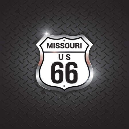66: missouri 66 road sign Illustration