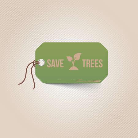 tag: save trees tag Illustration