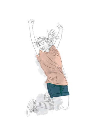 teenage girl: teenage girl jumping Illustration