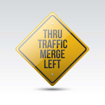 merge: thru traffic merge left sign