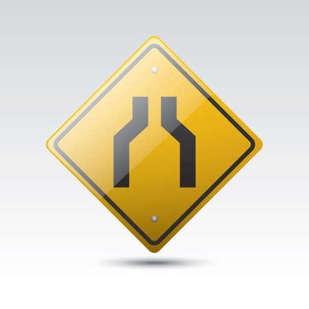 narrow road ahead sign Illustration
