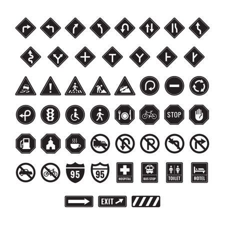narrows: collection of road signs Illustration