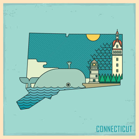 mile: connecticut state map Illustration