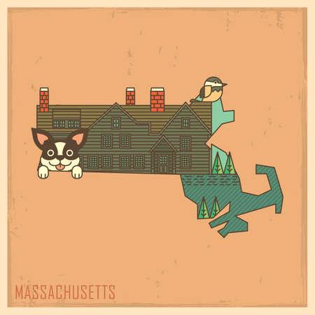 chickadee: massachusetts state map