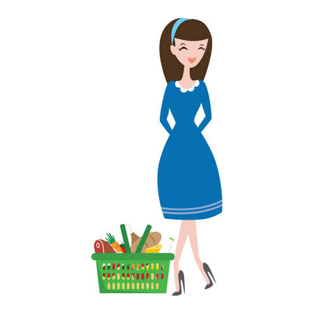 fashionable woman: fashionable woman with shopping basket Illustration