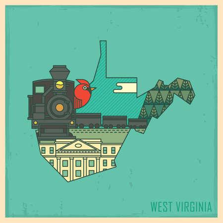 virginia: west virginia state map