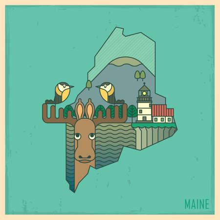 maine: maine state map