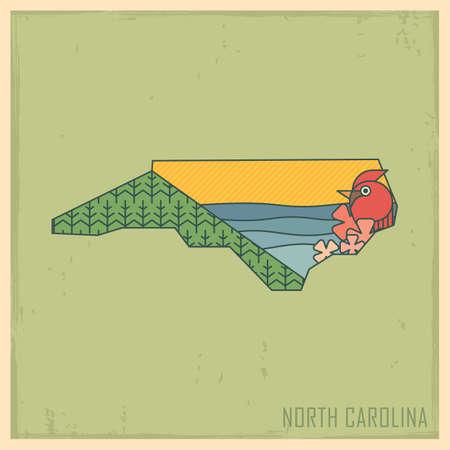 smoky mountains: north carolina state map Illustration