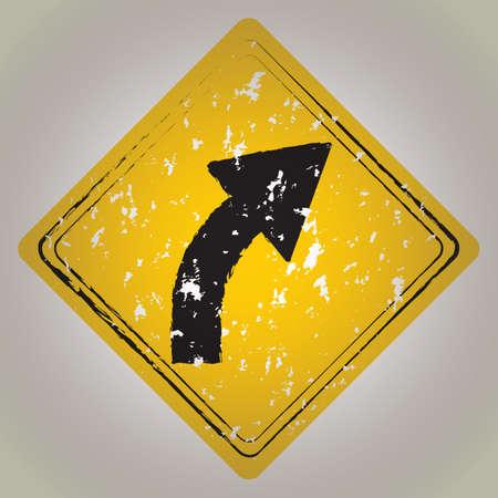 curve road: right curve road sign Illustration