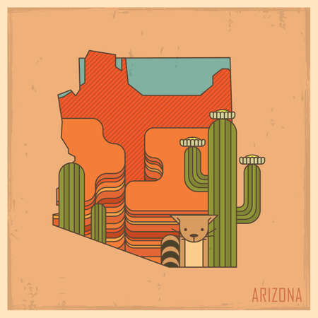 saguaro: arizona state map