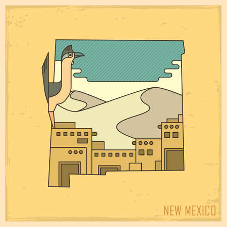 new mexico state map Illustration
