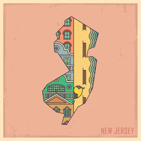 atlantic city: new jersey state map
