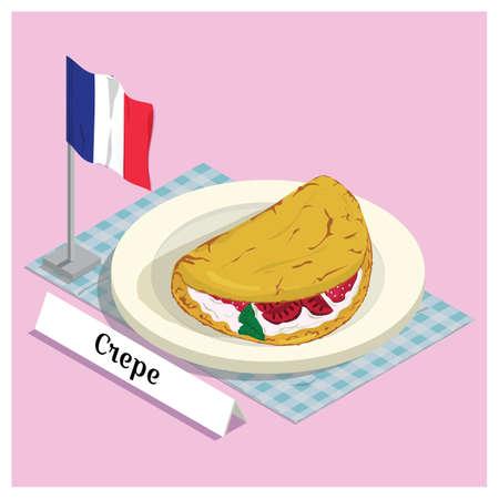 france flag: crepe with france flag