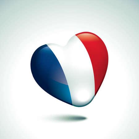 shaped: heart shaped france flag Illustration