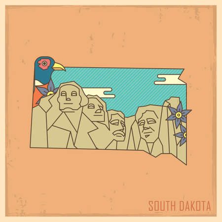 mt rushmore: south dakota state map