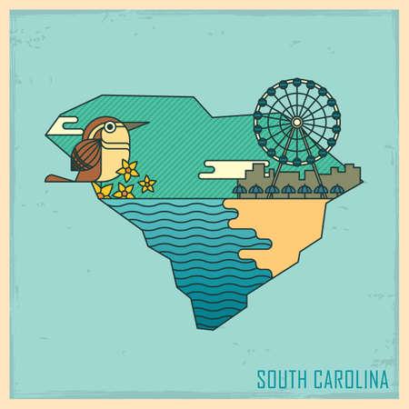 myrtle: south carolina state map