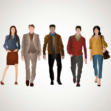casual wear: collection of people Illustration