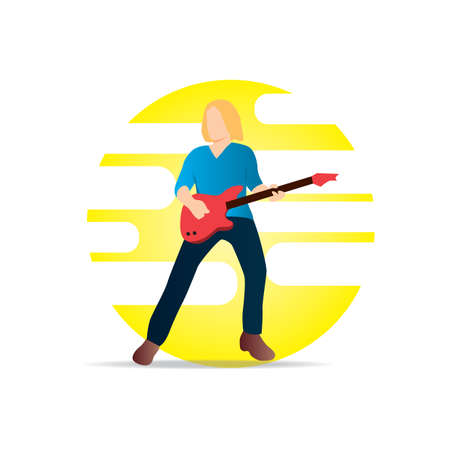 guy playing guitar: man playing guitar Illustration