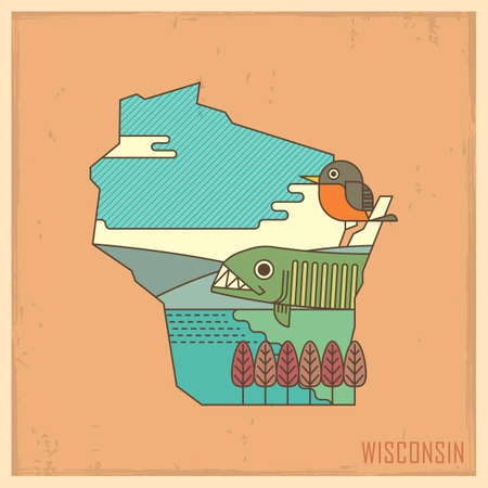 robin bird: wisconsin state map