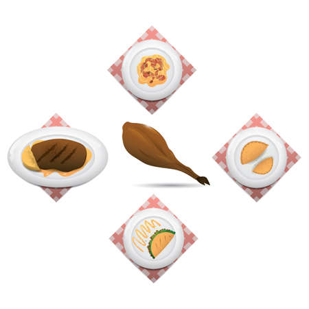 directly above: collection of spanish food Illustration