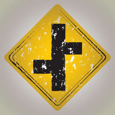 junction: road junction sign Illustration