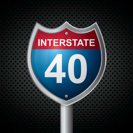 40: interstate 40 route sign Illustration