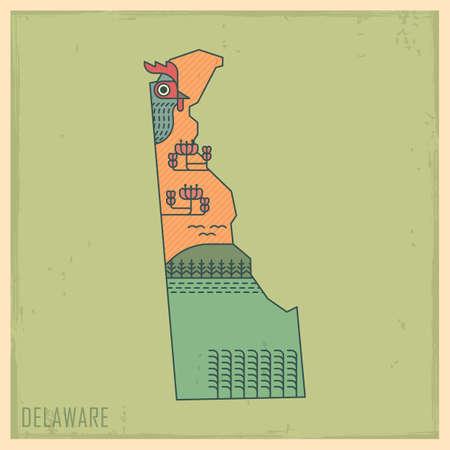 peach blossom: delaware state map Illustration