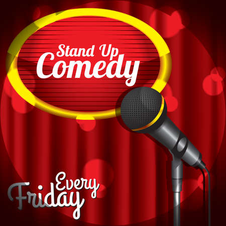 curtain up: stand up comedy Illustration