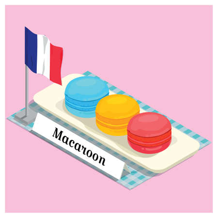 bandera francia: macarrones con indicador de Francia Vectores