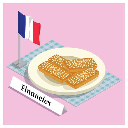 france flag: financier with france flag Illustration