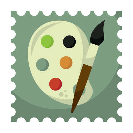 tempera: paint palette with brush