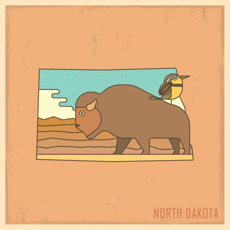 north dakota: north dakota state map