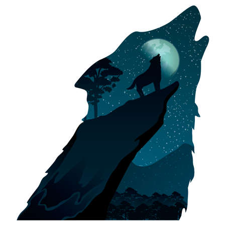 exposure: double exposure wolf