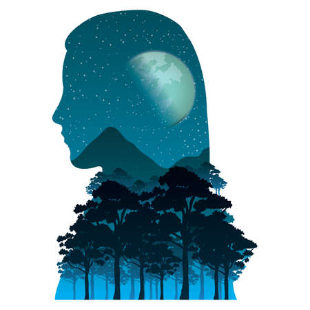exposure: double exposure woman Illustration
